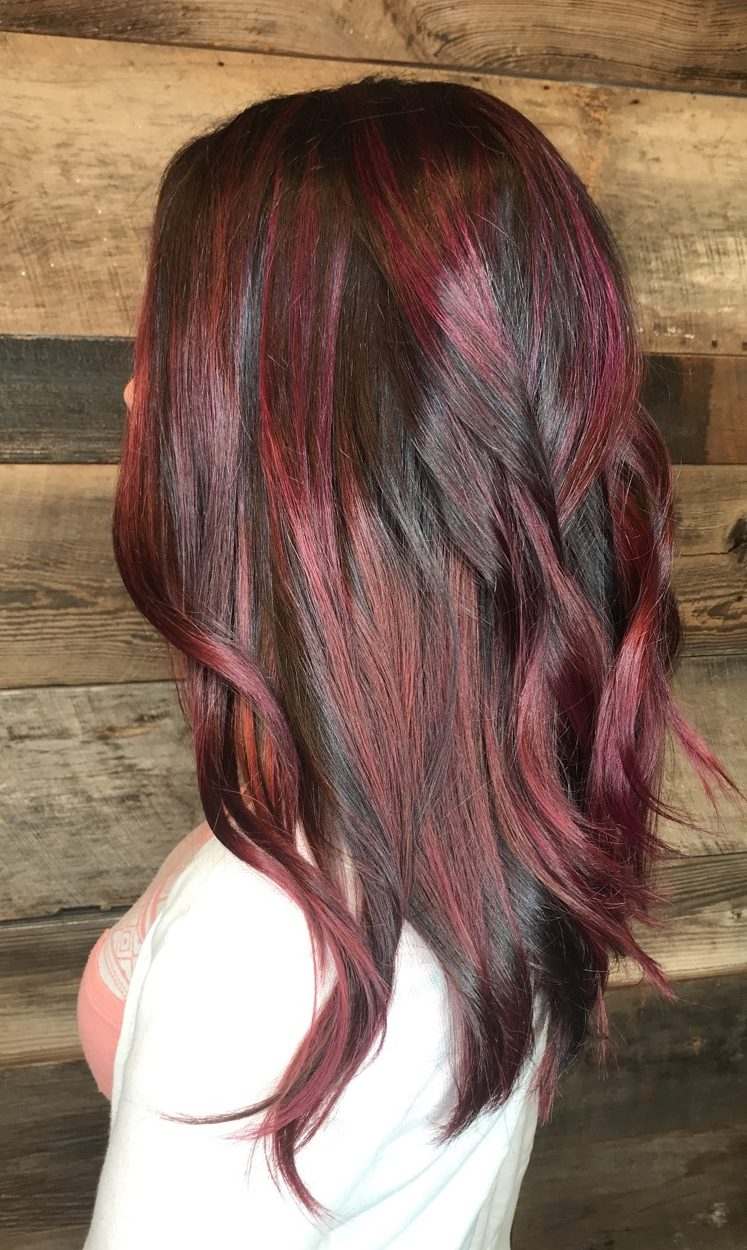 Womens Chestnut Brown Burgundy Hair Color Ideas With Balayage And