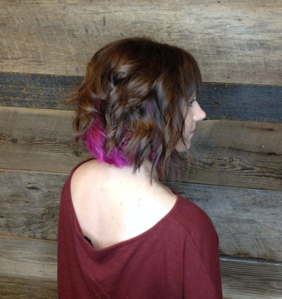 Womens Peekaboo Color Pink Hair Magenta Textured Messy Bob Hair Cut