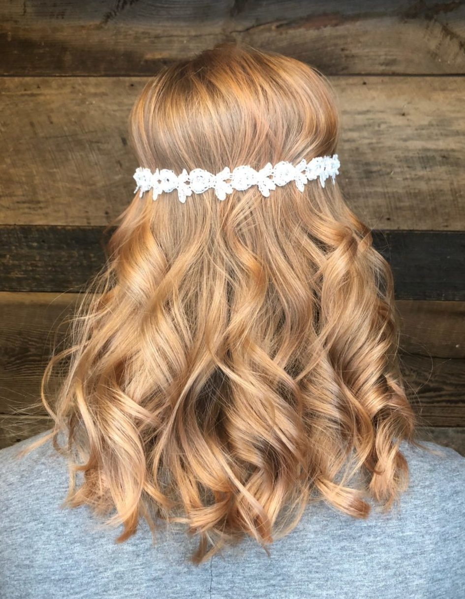 Strawberry blonde summer hair rose gold bohemian flower crown curls strawberry blonde summer hair rose gold bohemian flower crown curls best color cary nc izmirmasajfo
