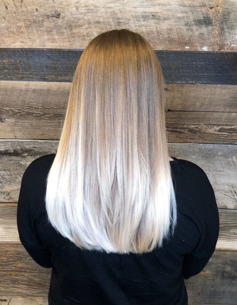 Best Hair Salon For Color Ombre Icy Blonde Platinum Hand Painting Long Layered Soft Cut
